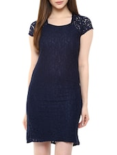 Navy Blue Lace Shift Dress -  online shopping for Dresses