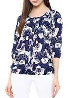 navy blue polycrepe printed top -  online shopping for Tops
