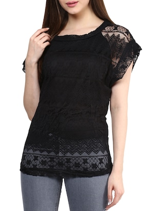Buy 1 Get 2 Free & Rs.300 Shopping Credit On Tops By Limeroad | Solid Black Lace Top @ Rs.1095