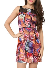 Multi Pattern Printed Sleeveless Bodycon Dress - Tong