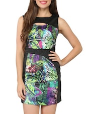 Multicolor Printed Sleeveless Bodycon Dress - Tong