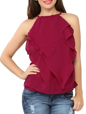 Front Frilled Sleeveless Georgette Top - Tong