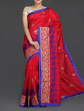 Red Embroidered Tussar Silk Saree - Simaaya Fashions