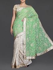Green And Beige Embroidered Chiffon Saree - Simaaya Fashions