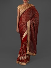 Red Brasso Embroidered Saree - By