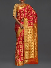 Golden Paisley Pallu Magenta Kanjivaram Saree - SareesHut