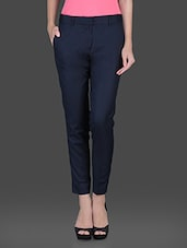 Solid Navy Blue Formal Trouser - Fast N Fashion