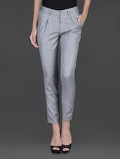 Light Grey Front Pleat Formal Trouser - Fast N Fashion