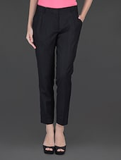 Black Double Front Pleat Formal Trouser - By