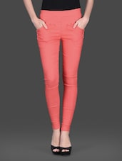 Orange Cotton Spandex Knit Net Lace Jeggings - By