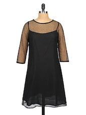 Black Sheer Yoke Lace Shift Dress - RIGOGLIOSO