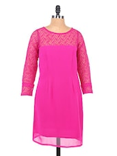 Hot Pink Lace Yoke Georgette Dress - RIGOGLIOSO