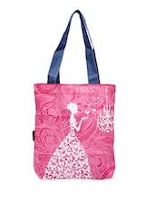 Cartoon Character Printed Pink Canvas Tote Bag - Kanvas Katha