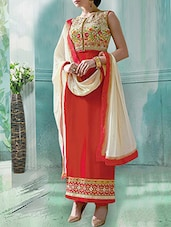 orange georgette unstitched suit -  online shopping for Unstitched Suits