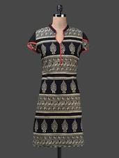 Mandarin Collar Short Sleeves Printed Cotton Kurta - Shabari