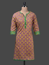 Block Printed Quarter Sleeves Cotton Kurta - Shabari