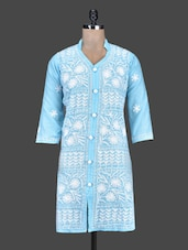 Mandarin Collar Aari Work Cotton  Kurta - Saadgi