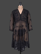 Black Solid Sheer Georgette Kurta - Saadgi