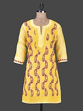 Round Neck Three Quarter Sleeve Kurta - Saadgi