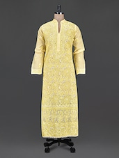 Mandarin Collar Sheer Aari Work Long Kurta - Saadgi