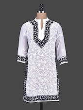 White And Black Thread Work Kurta - Saadgi