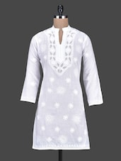 Three Quarter Sleeved Aari Work Cotton Kurta - Saadgi