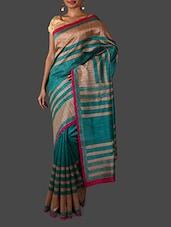 Sea Green Striped Bhagalpuri Silk Saree - Janasya