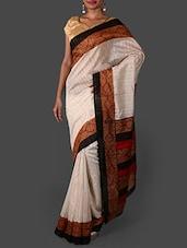 Off White Printed Bhagalpuri Silk Saree - Janasya