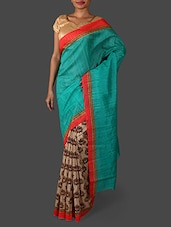 Sea Green Printed Bhagalpuri Silk Saree - Janasya