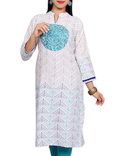 White Color, Cotton Printed Embroidered Long Kurta - By