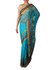 Light Blue Zari Art Silk Saree - By