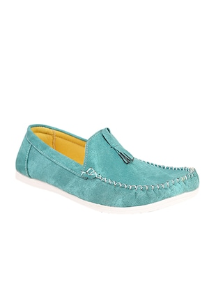 turquoise blue leatherette slip on loafer -  online shopping for Loafers