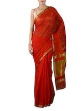 Red Zari Art Silk Saree - By