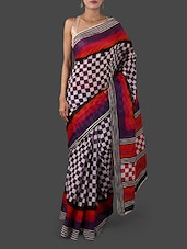 Purple And White Checked Pure Cotton Saree - Janasya
