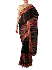 Black Printed Pure Cotton Saree - By