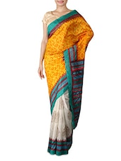 White And Yellow Printed Silk Saree - By