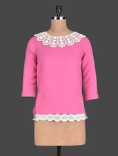Pink Lace Georgette Top - Paprika