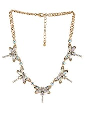 Multicolour Stone Metallic Butterfly Necklace With Crab Claw Closure - By