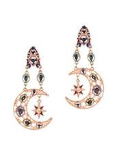 Multicolour Acrylic Metallic Sun Moon Earrings With Push Back Closure - Femnmas