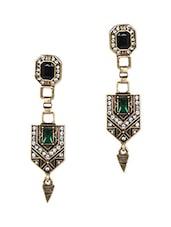 Multicolour Stone Metallic Ethnic Earrings With Push Back Closure - Femnmas