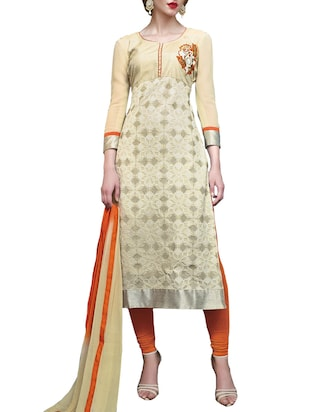 beige georgette unstitched suit