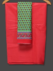 Printed Red And Green Unstitched Suit Piece - Boutique Rupkatha