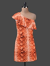 Snake Skin Print One Shoulder Dress - Yepme