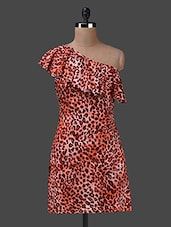 Leopard Print One Shoulder Dress - Yepme - 1147317