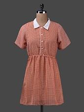 Short Sleeves Shirt Collar Georgette Kurta - Yepme