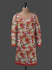 Floral Print Deep Neck Georgette Kurta - Yepme