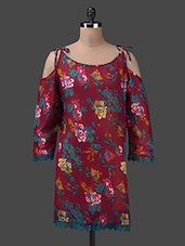 Deep Neck Floral Print Georgette Kurta - Yepme