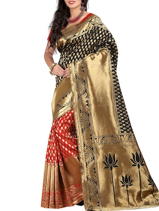 black silk blend saree