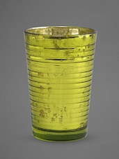 Green Glass Votive With Mottle Finish - Indian Reverie