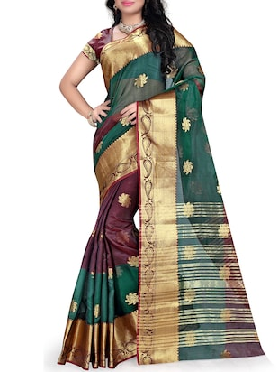 multicolor silk blend saree